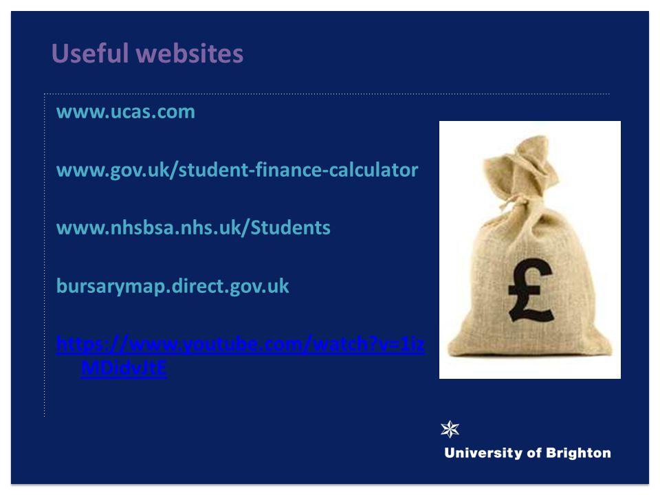 Useful websites www.ucas.com www.gov.uk/student-finance-calculator www.nhsbsa.nhs.uk/Students bursarymap.direct.gov.uk https://www.youtube.com/watch?v