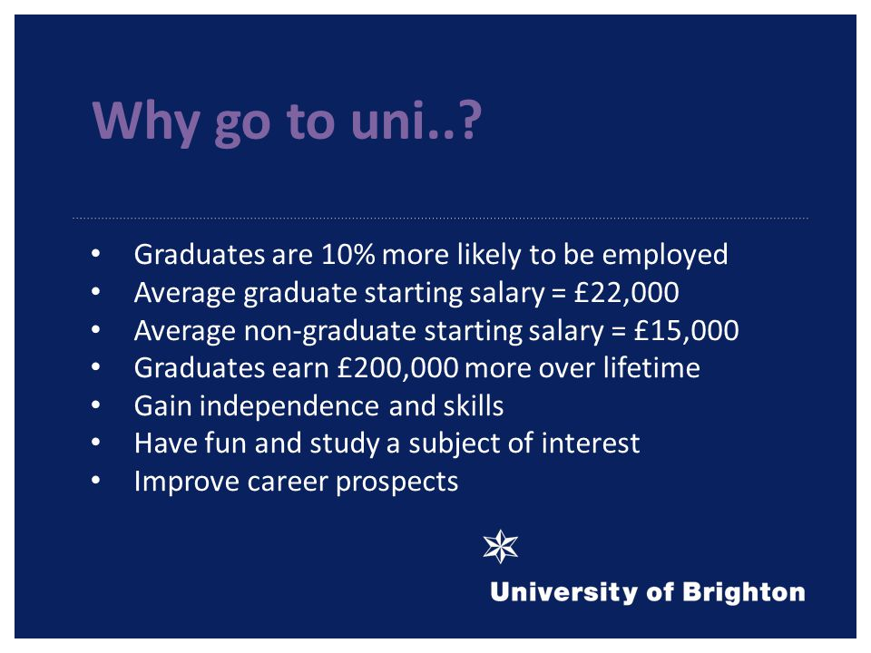 Graduates are 10% more likely to be employed Average graduate starting salary = £22,000 Average non-graduate starting salary = £15,000 Graduates earn £200,000 more over lifetime Gain independence and skills Have fun and study a subject of interest Improve career prospects Why go to uni..