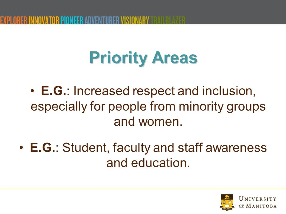 Priority Areas E.G.: Increased respect and inclusion, especially for people from minority groups and women.