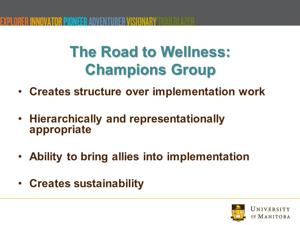 The Road to Wellness: Champions Group Creates structure over implementation work Hierarchically and representationally appropriate Ability to bring allies into implementation Creates sustainability