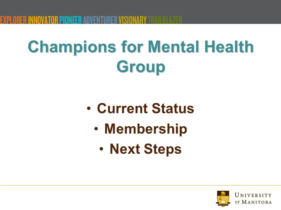 Champions for Mental Health Group Current Status Membership Next Steps
