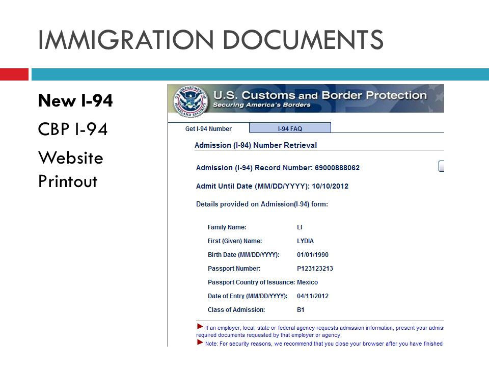 New I-94 CBP I-94 Website Printout