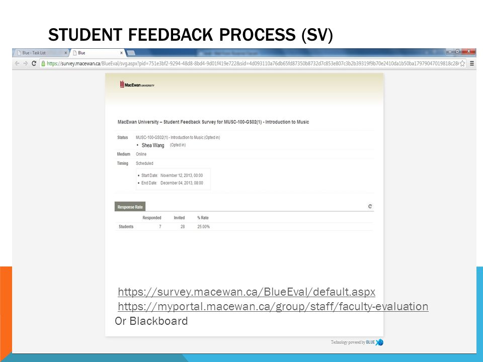STUDENT FEEDBACK PROCESS (SV) https://survey.macewan.ca/BlueEval/default.aspx https://myportal.macewan.ca/group/staff/faculty-evaluation Or Blackboard