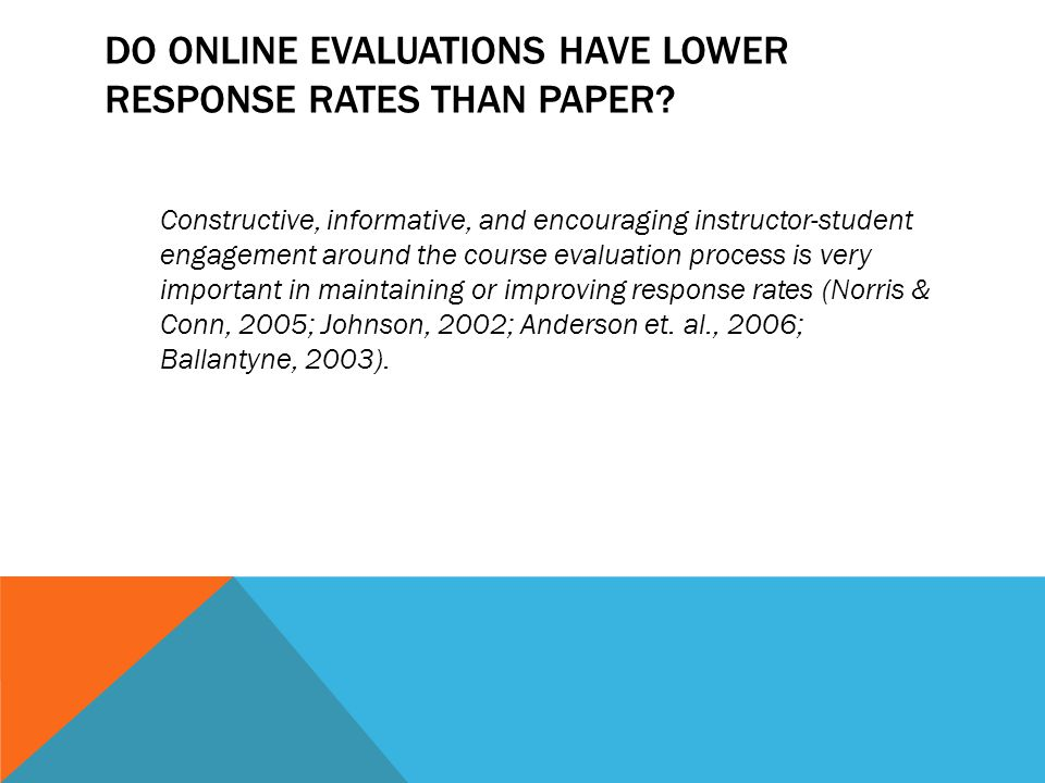 DO ONLINE EVALUATIONS HAVE LOWER RESPONSE RATES THAN PAPER.