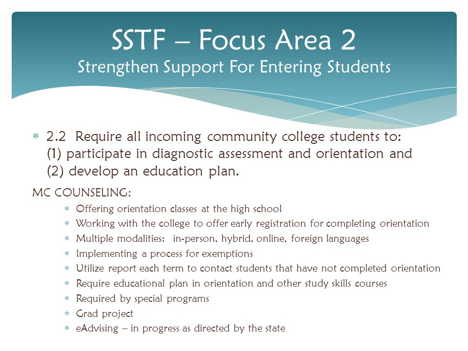  2.4 Require students whose diagnostic assessments show a lack of readiness for college to participate in a support resource, such as a student success course, learning community, or other sustained intervention, provided by the college for new students.