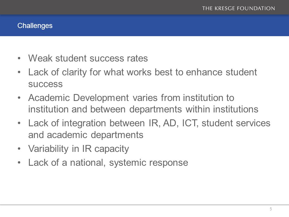 Opportunities DHET Learning and Teaching grants CHE Quality Enhancement project Increasing interest in using data analytics to improve student success SASSE Access to cutting-edge international thinking on similar issues Emerging models overseas: Scotland, Achieving the Dream, Georgia State University 6