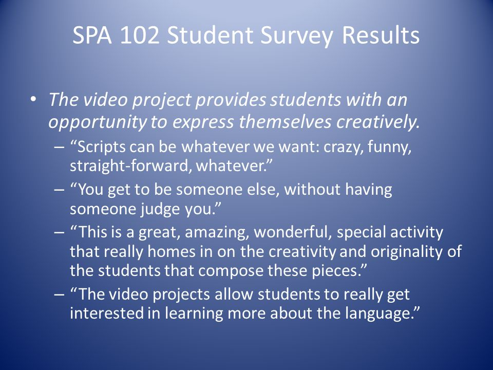 SPA 102 Student Survey Results The video project provides students with an opportunity to express themselves creatively.
