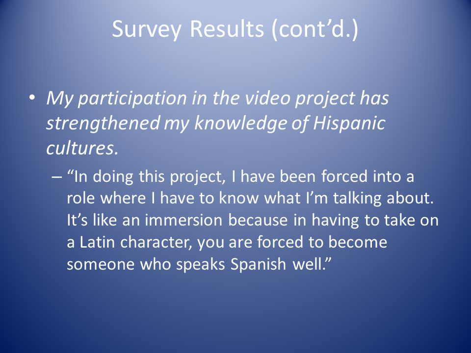 Survey Results (cont'd.) My participation in the video project has strengthened my knowledge of Hispanic cultures.
