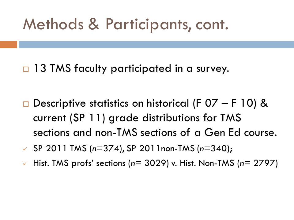 Methods & Participants, cont. 13 TMS faculty participated in a survey.