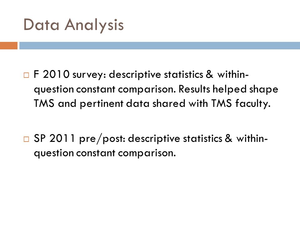 Data Analysis  F 2010 survey: descriptive statistics & within- question constant comparison.