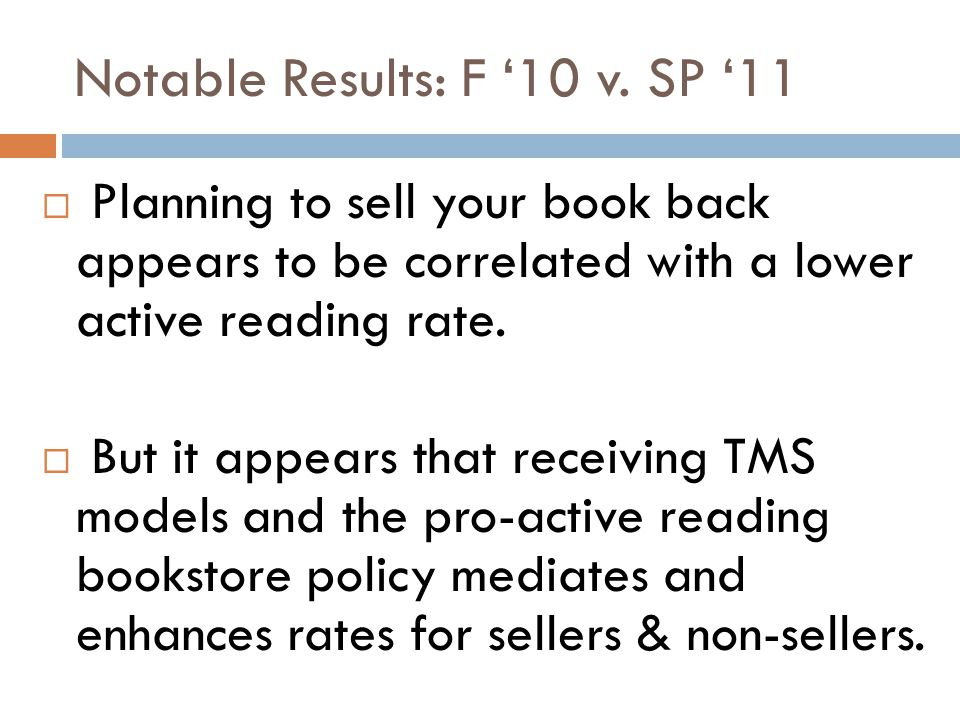  Planning to sell your book back appears to be correlated with a lower active reading rate.