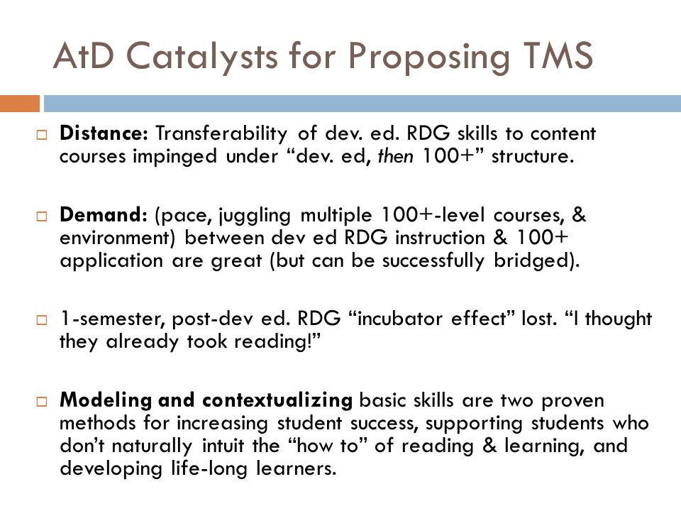 AtD Catalysts for Proposing TMS  Distance: Transferability of dev.