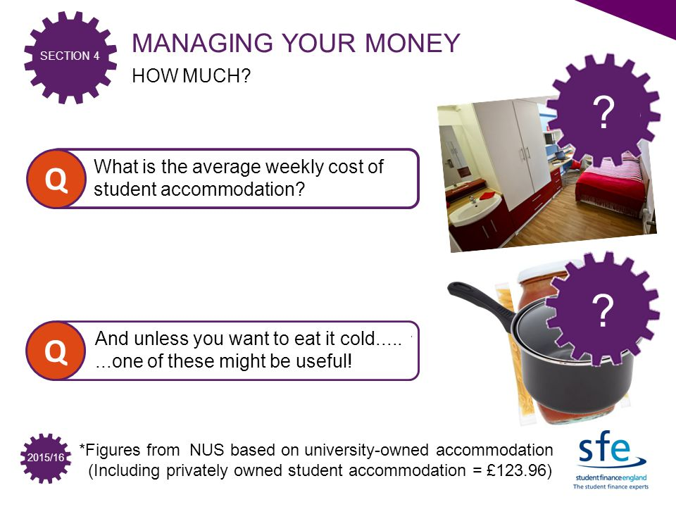 SECTION 4 2015/16 Q What is the average weekly cost of student accommodation.