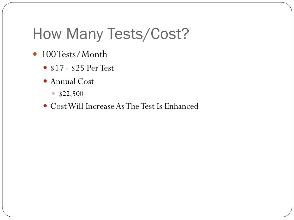 How Many Tests/Cost.