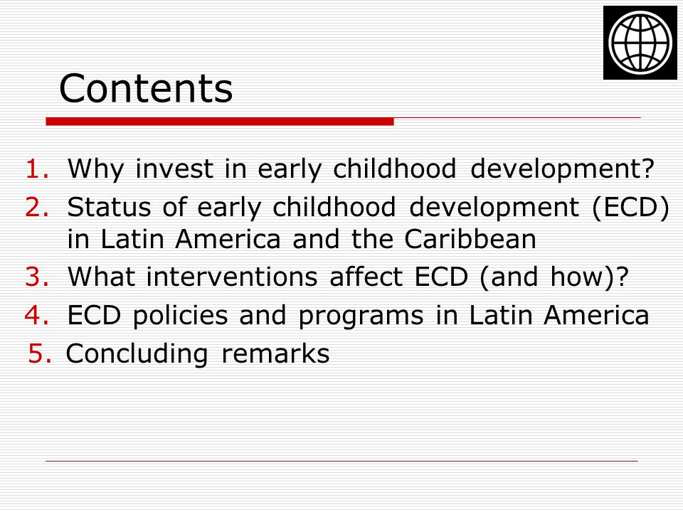 Contents 1.Why invest in early childhood development.