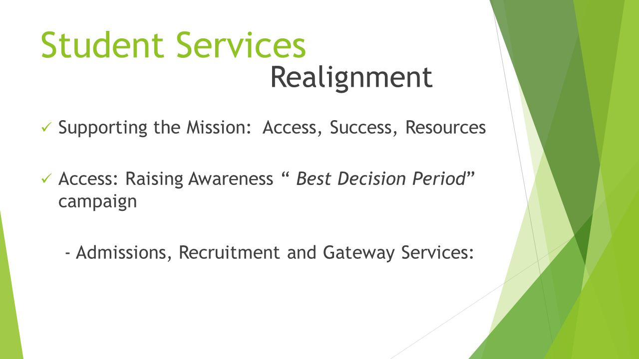 Student Services Supporting the Mission: Access, Success, Resources Access: Raising Awareness Best Decision Period campaign - Admissions, Recruitment and Gateway Services: Realignment