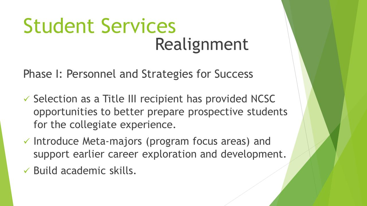 Student Services Phase I: Personnel and Strategies for Success Selection as a Title III recipient has provided NCSC opportunities to better prepare prospective students for the collegiate experience.