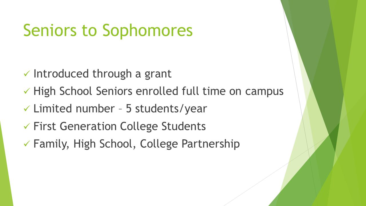 Seniors to Sophomores Introduced through a grant High School Seniors enrolled full time on campus Limited number – 5 students/year First Generation College Students Family, High School, College Partnership