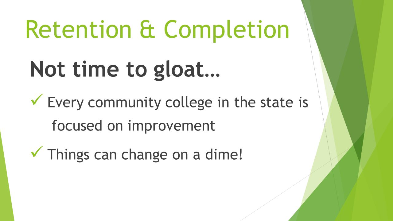 Not time to gloat… Every community college in the state is focused on improvement Things can change on a dime.