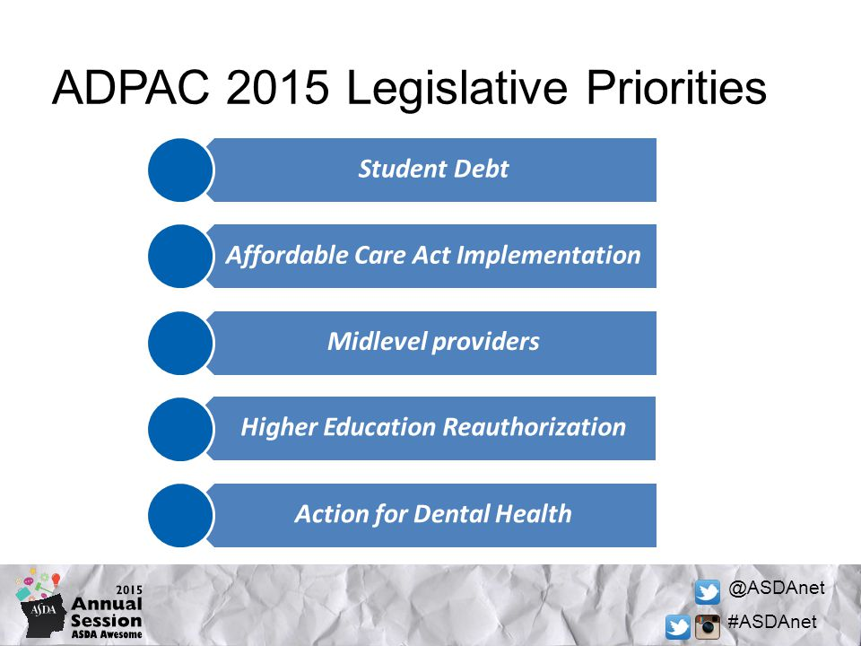 @ASDAnet #ASDAnet Student Debt Affordable Care Act Implementation Midlevel providers Higher Education Reauthorization Action for Dental Health ADPAC 2015 Legislative Priorities