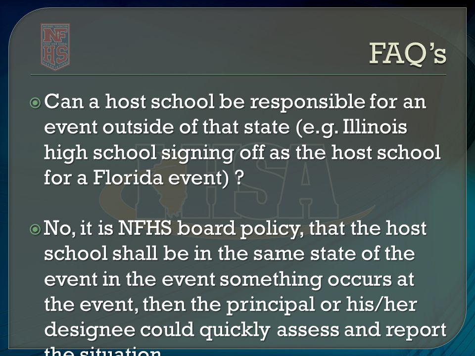  Can a host school be responsible for an event outside of that state (e.g.