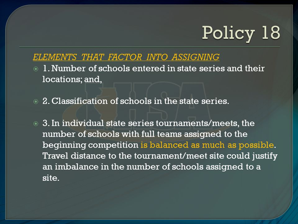 ELEMENTS THAT DO NOT FACTOR INTO ASSIGNING  1.Won-lost records of the schools;  2.