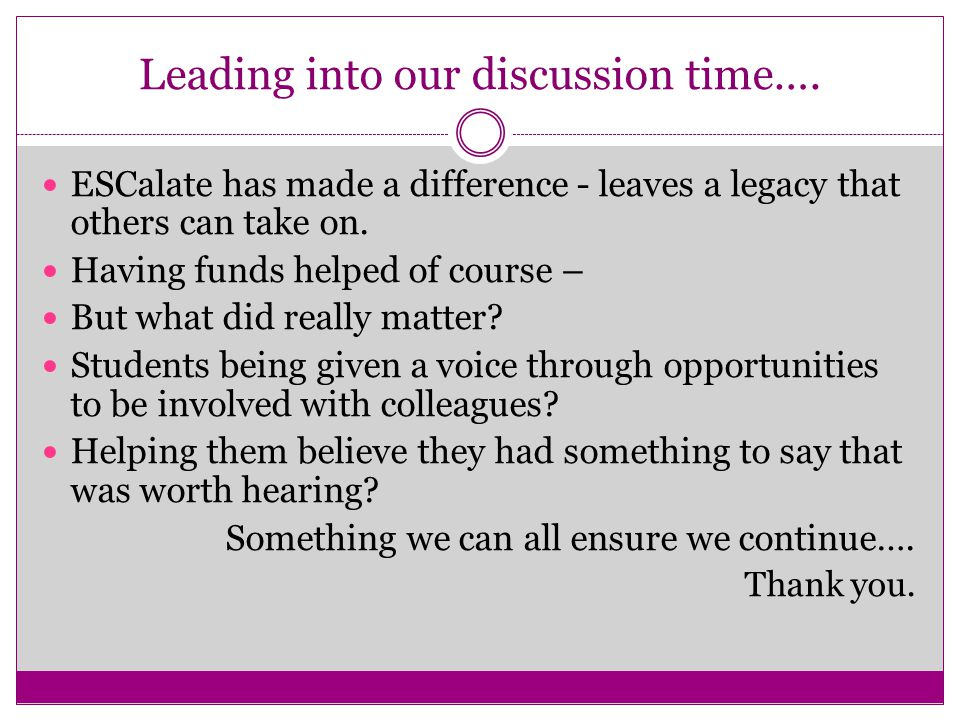 Leading into our discussion time….