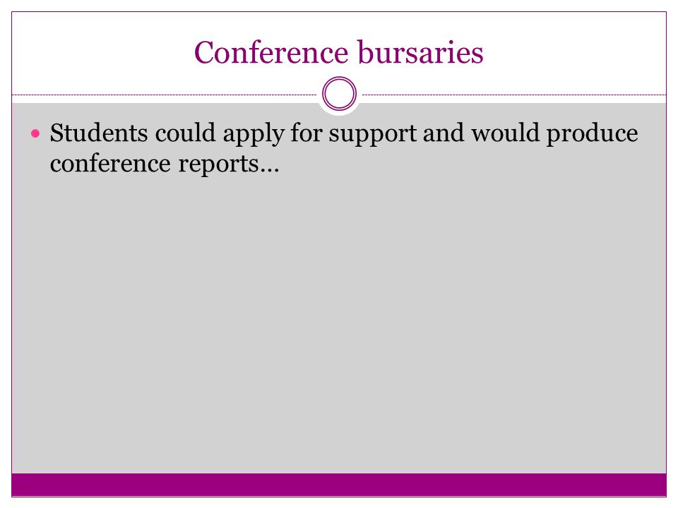 Conference bursaries Students could apply for support and would produce conference reports…