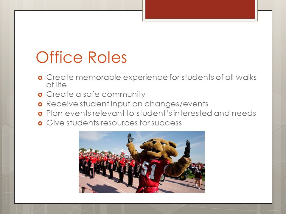 Office Roles  Create memorable experience for students of all walks of life  Create a safe community  Receive student input on changes/events  Plan events relevant to student's interested and needs  Give students resources for success