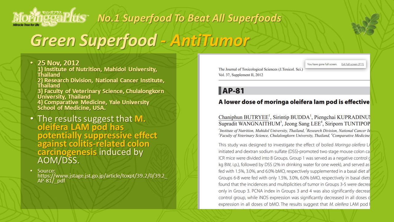 Green Superfood - AntiTumor 25 Nov, ) Institute of Nutrition, Mahidol University, Thailand 2) Research Division, National Cancer Institute, Thailand 3) Faculty of Veterinary Science, Chulalongkorn University, Thailand 4) Comparative Medicine, Yale University School of Medicine, USA.