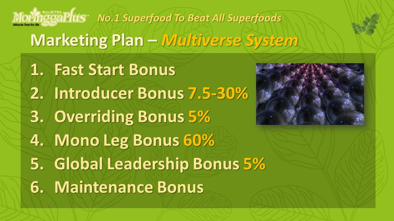 Marketing Plan – Multiverse System 1.Fast Start Bonus 2.Introducer Bonus % 3.Overriding Bonus 5% 4.Mono Leg Bonus 60% 5.Global Leadership Bonus 5% 6.Maintenance Bonus No.1 Superfood To Beat All Superfoods