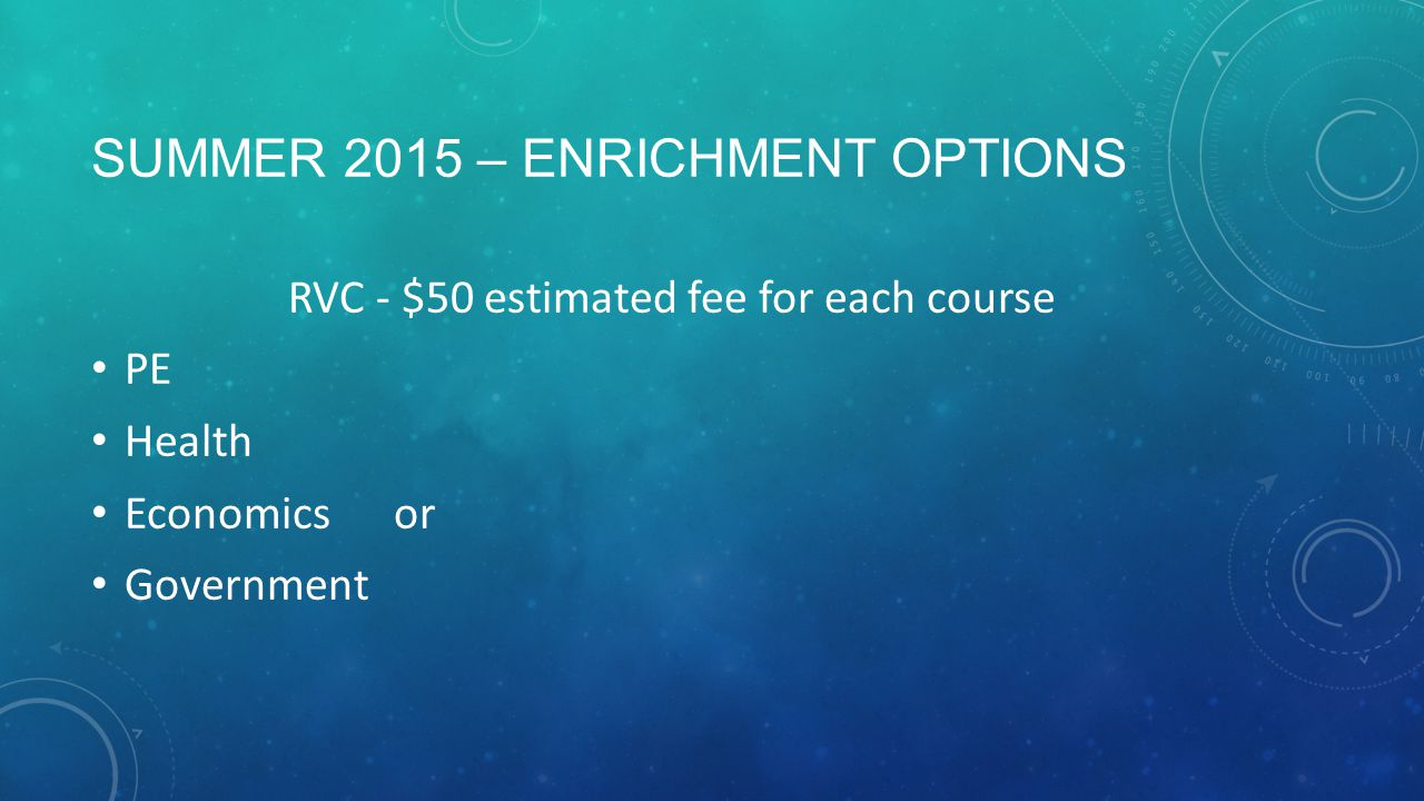 SUMMER 2015 – ENRICHMENT OPTIONS RVC - $50 estimated fee for each course PE Health Economics or Government