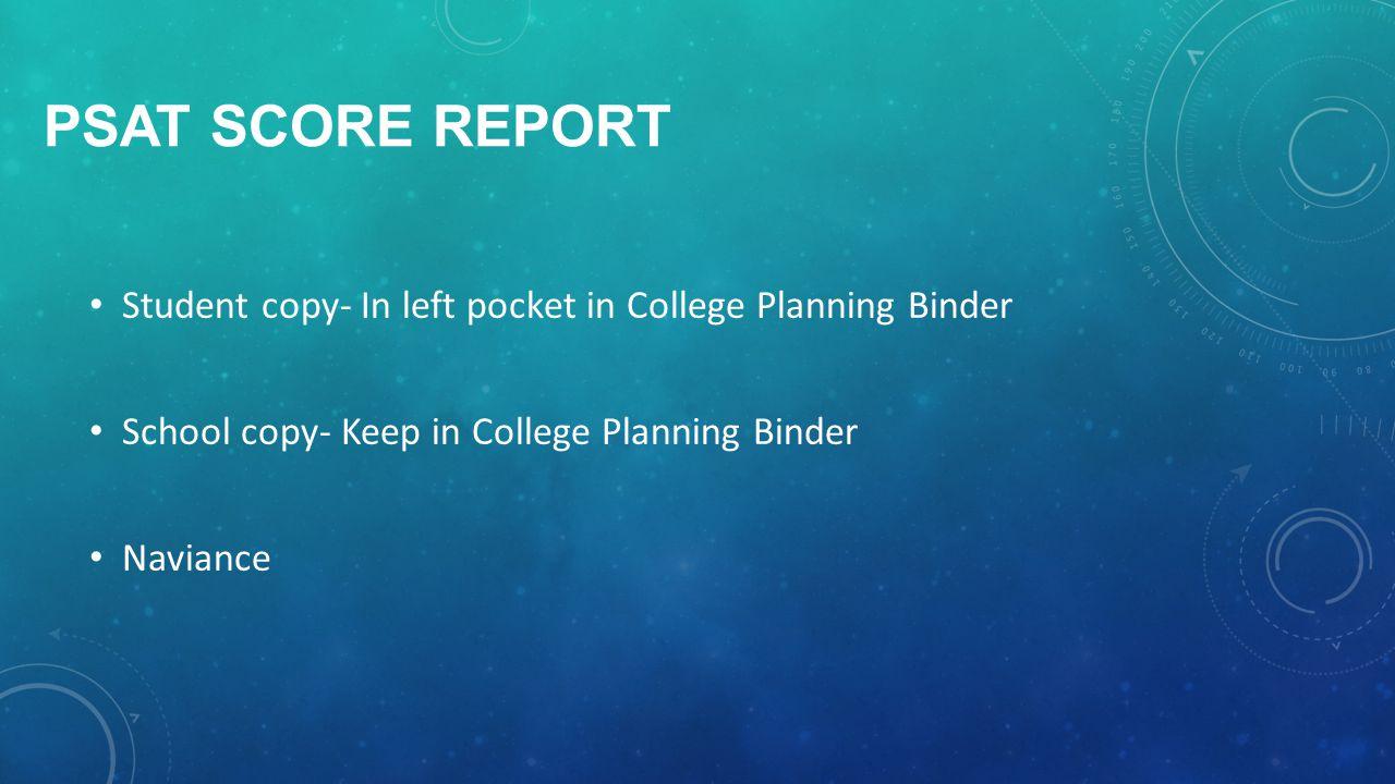 PSAT SCORE REPORT Student copy- In left pocket in College Planning Binder School copy- Keep in College Planning Binder Naviance