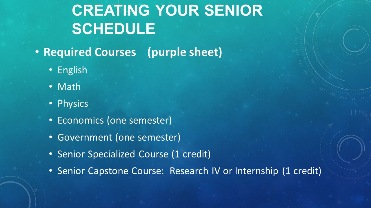 CREATING YOUR SENIOR SCHEDULE Required Courses (purple sheet) English Math Physics Economics (one semester) Government (one semester) Senior Specialized Course (1 credit) Senior Capstone Course: Research IV or Internship (1 credit)