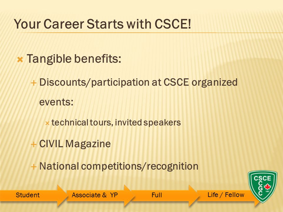  Tangible benefits:  Discounts/participation at CSCE organized events:  technical tours, invited speakers  CIVIL Magazine  National competitions/recognition Your Career Starts with CSCE.