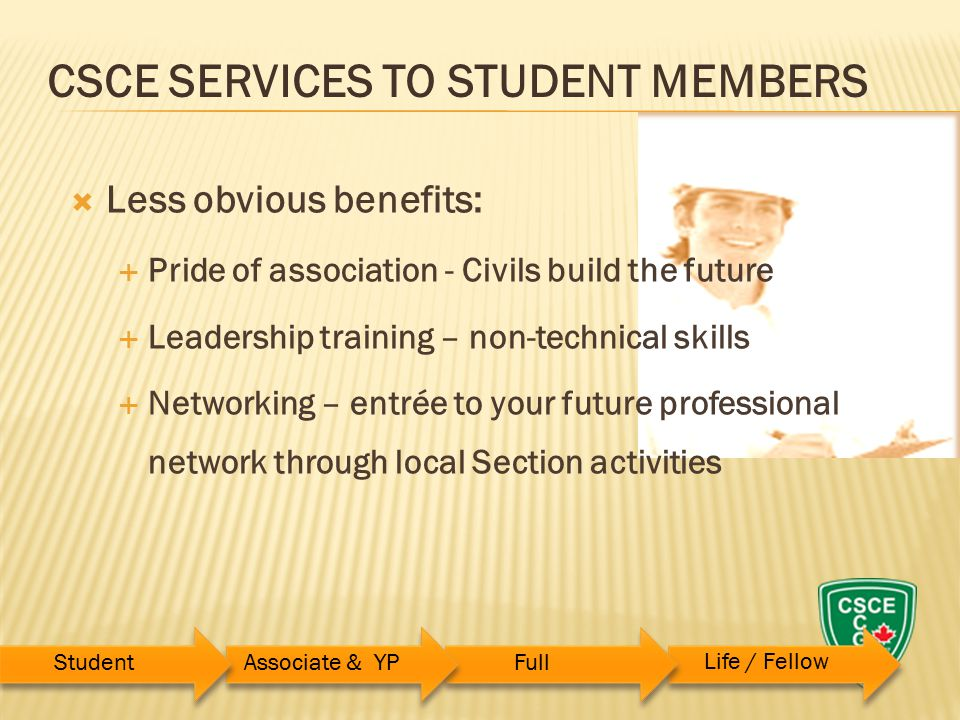  Less obvious benefits:  Pride of association - Civils build the future  Leadership training – non-technical skills  Networking – entrée to your future professional network through local Section activities CSCE SERVICES TO STUDENT MEMBERS StudentAssociate & YPFull Life / Fellow