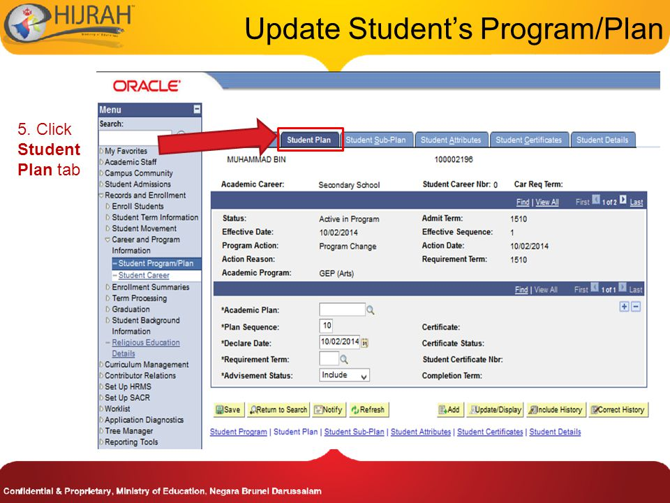 5. Click Student Plan tab Update Student's Program/Plan