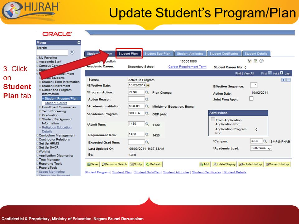 3. Click on Student Plan tab Update Student's Program/Plan