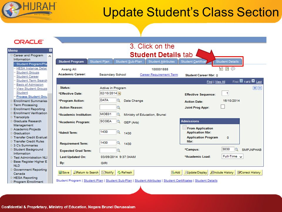 3. Click on the Student Details tab Update Student's Class Section