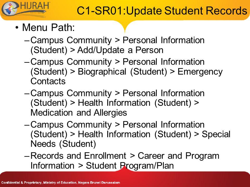 1. Navigate the menu path 2. Enter student's special needs details Student's Special Needs Details