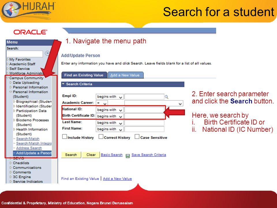 1. Navigate the menu path Update Student's Program/Plan