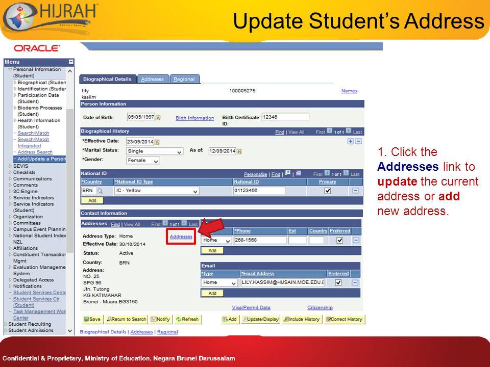 3. Click on Student Plan tab Update Student's Program/Plan