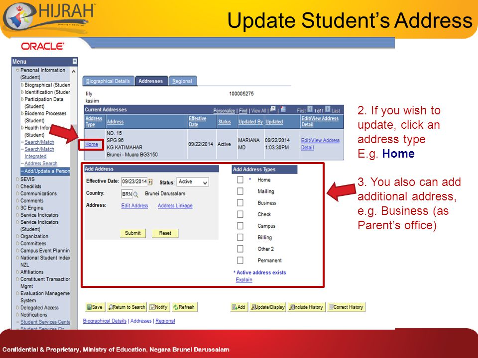 4. Edit the desired information of the address to the respective field. Update Student's Address