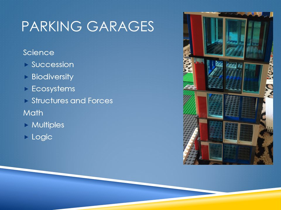 PARKING GARAGES Science  Succession  Biodiversity  Ecosystems  Structures and Forces Math  Multiples  Logic