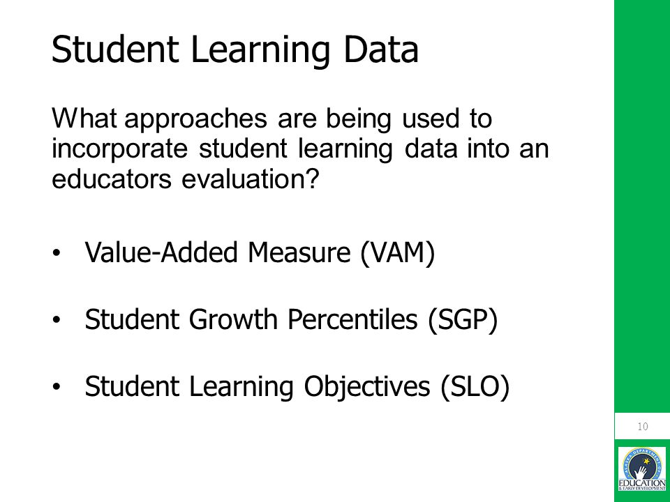 What approaches are being used to incorporate student learning data into an educators evaluation.