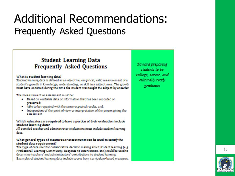 19 Additional Recommendations: Frequently Asked Questions