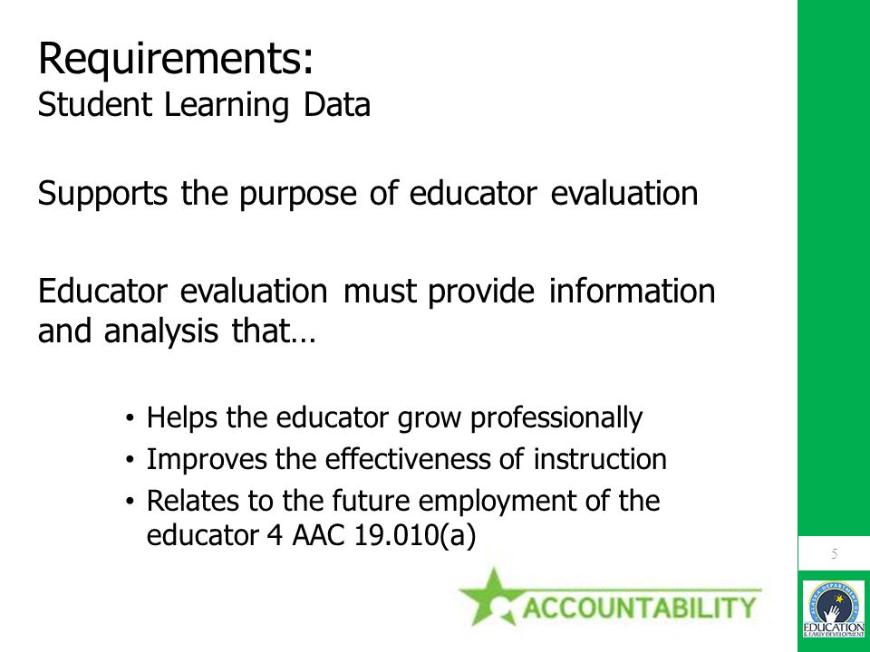 Requirements: Student Learning Data Supports the purpose of educator evaluation Educator evaluation must provide information and analysis that… Helps
