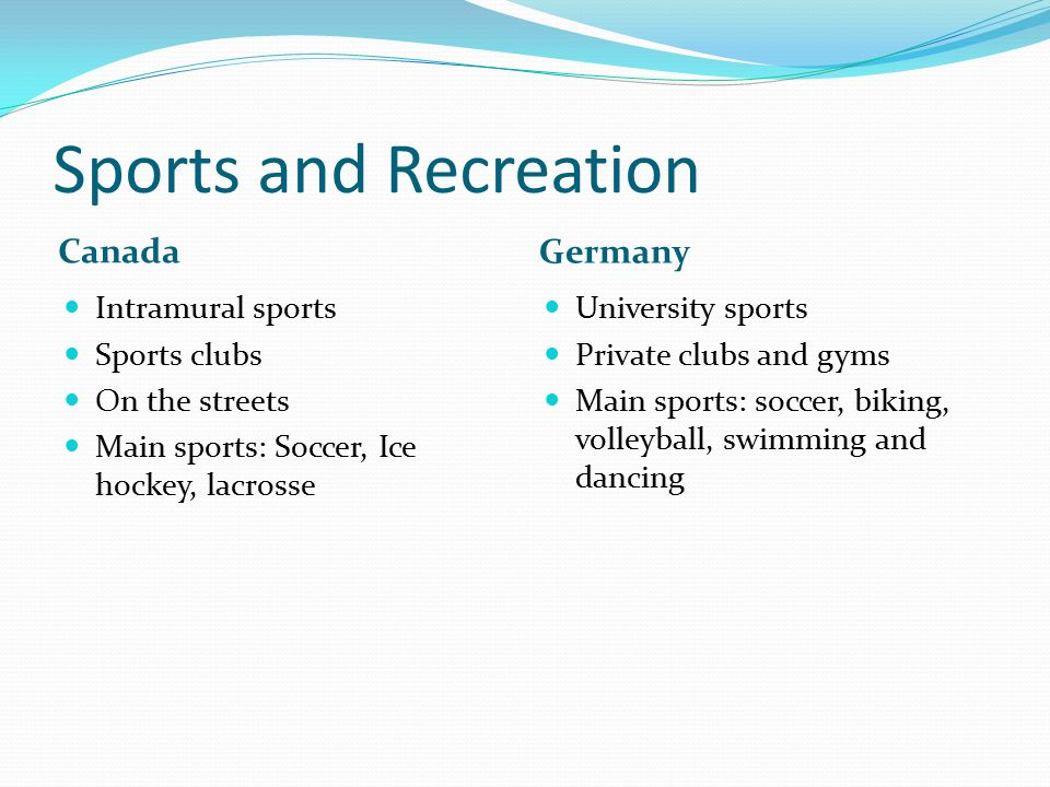 Sports and Recreation Canada Germany Intramural sports Sports clubs On the streets Main sports: Soccer, Ice hockey, lacrosse University sports Private