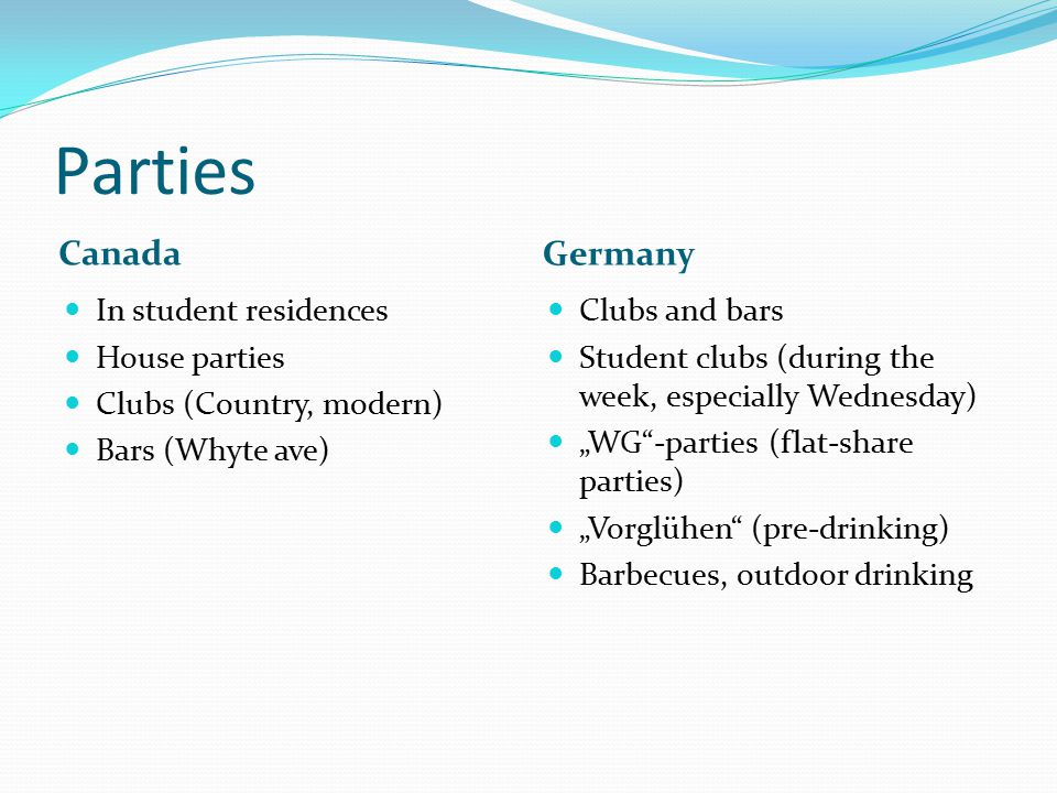 Parties Canada Germany In student residences House parties Clubs (Country, modern) Bars (Whyte ave) Clubs and bars Student clubs (during the week, esp