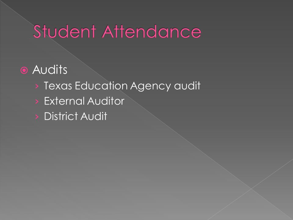  First Day Attendance › Log into the system prior the first day › Identify 'No Show' students › Establish enrollment counts › Clean up class rosters › No absences on the first day of school